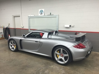 Paint protection on Silver sports car