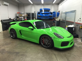 Lime Green Porsche with paint protection applied