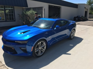Blue Chevy Camero with Paint Protection Applied